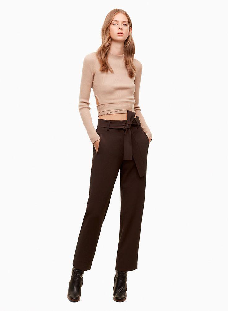 aritzia Wilfred Jallade pants | peg leg trousers | Warm Earth chocolate brown