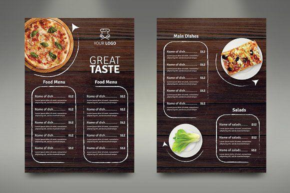 A4 Fast Food Menu Dengan Gambar Makanan Brosur