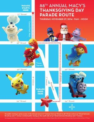 Thanksgiving Day Parade Route Map - Macys, Inc. Used with permission.