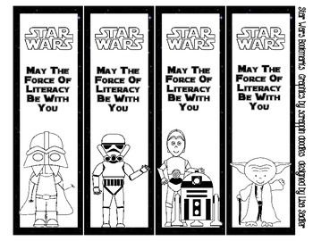 Star Wars Bookmarks - BLACK AND WHITE - 4 Designs