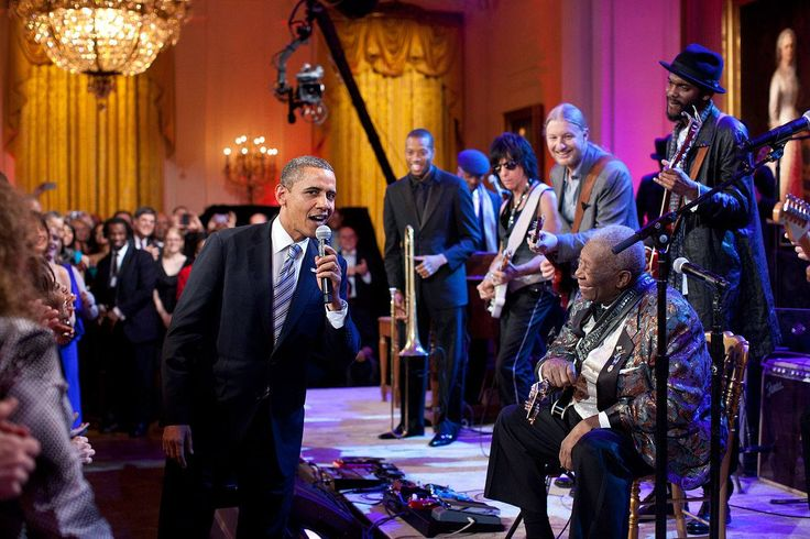 """President Barack Obama joins B.B King, Trombone Shorty, Jeff Beck, Derek Trucks and Gary Clark Jr in singing """"Sweet Home Chicago"""" at the White House: Red, White and Blues concert for the Black History Month celebration of blues music on February 21, 2012. (photo by Pete Souza)"""