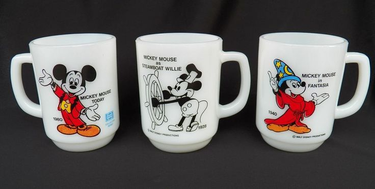 3 VTG ANCHOR HOCKING FIRE KING MICKEY MOUSE MUGS FANTASIA STEAMBOAT WILLIE 1980