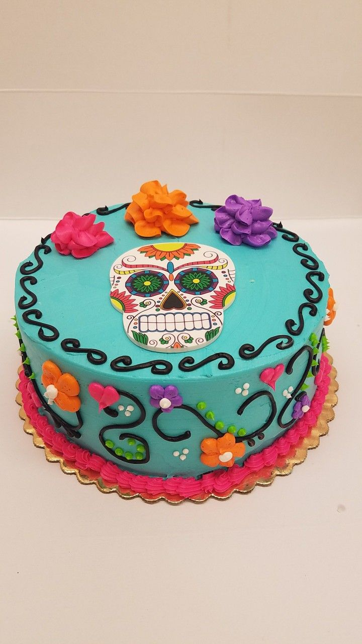 Day Of The Dead Skull Halloween Theme Cake With Images Sugar