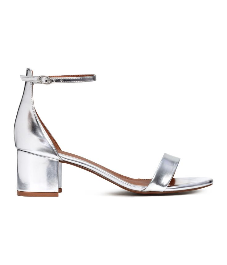 Sandals in imitation leather with a metallic finish and covered block heels.  | H&M Shoes