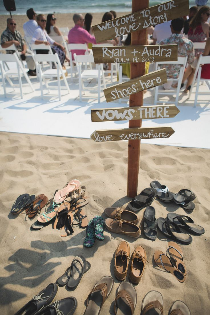 Wedding Sign - Shoes Here ~ Vows There ~ Love Everywhere - Beach Weddings at The Sunset Restaurant - Malibu, California - Photography: www.tonygambinophoto.com