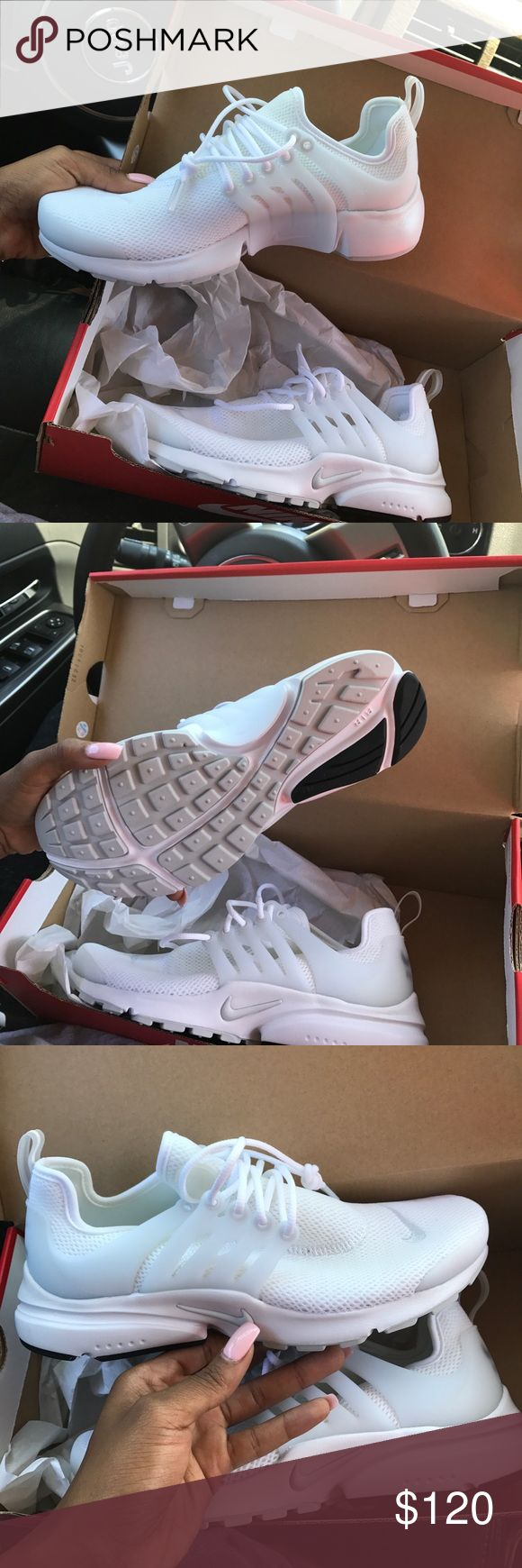 All white Prestos Nike Never worn all white Nike prestos Nike Shoes Athletic Shoes