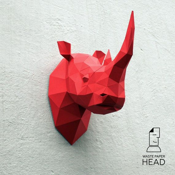 Cabeza de rinoceronte de papel-impresión por WastePaperHead en Etsy