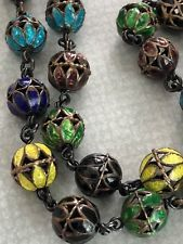 """Rare Chinese export Ball Beaded sterling silver enamel necklace 24"""""""