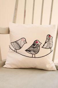 Appliquéd Bird Cushion by MissSDesigns on Etsy, £16.00