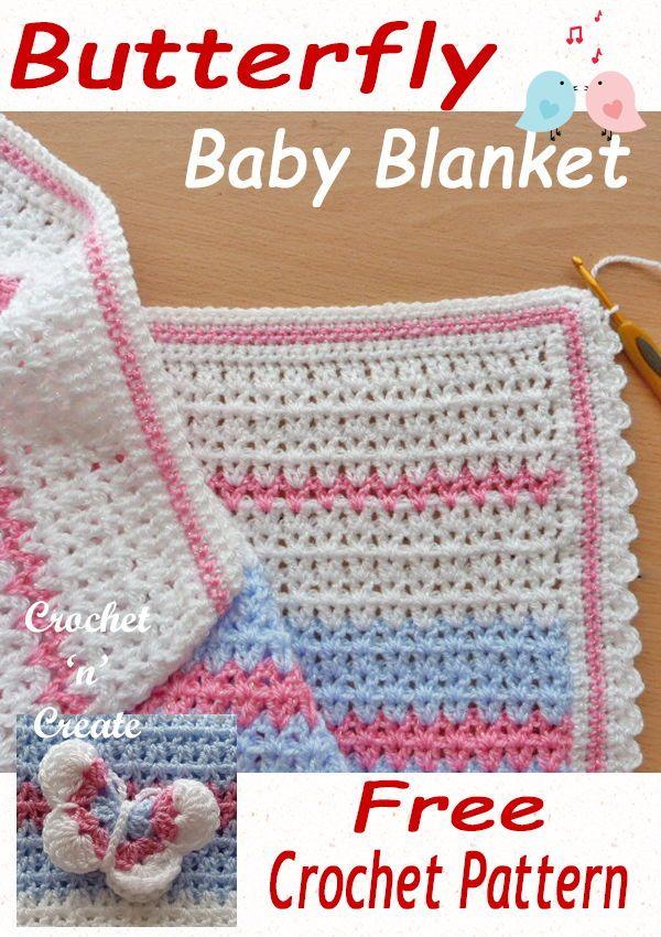 Free Crochet Pattern Butterfly Baby Blanket | Free Baby