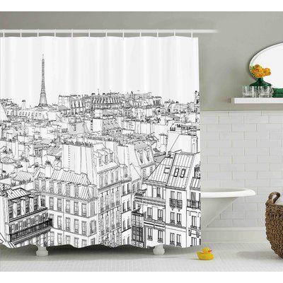 """Ebern Designs Blondelle Paris Roofs Shower Curtain Size: 69"""" W x 70"""" L"""