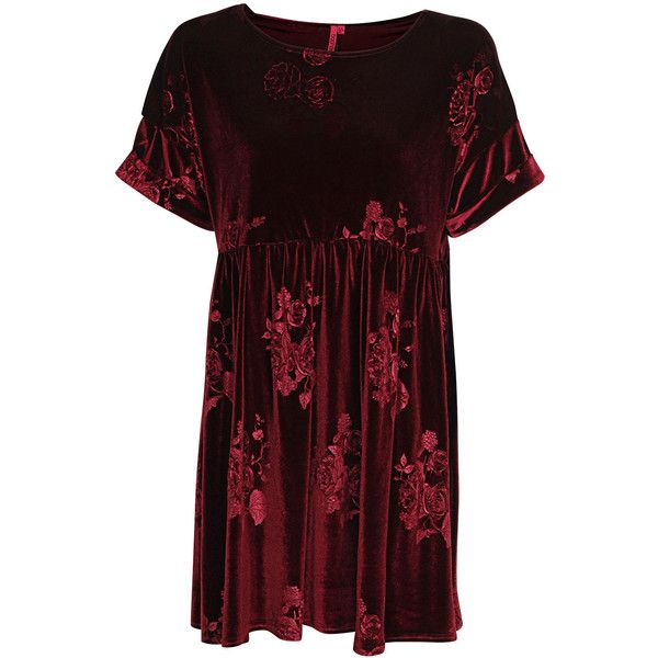 Boohoo Anne Embossed Velvet Smock Dress ($26) ❤ liked on Polyvore featuring dresses, vestidos, tops, vestiti, smock dress, red dress, red cocktail dress, smocked dresses et velvet cocktail dress