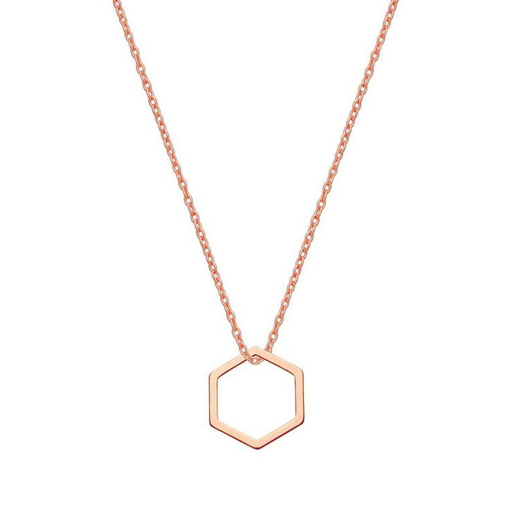 Naszyjnik z różowego złota z sześciokątem