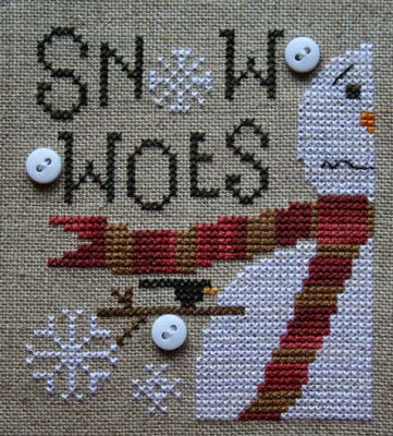 Heart in Hand's Snow Woes done on 40 count linen