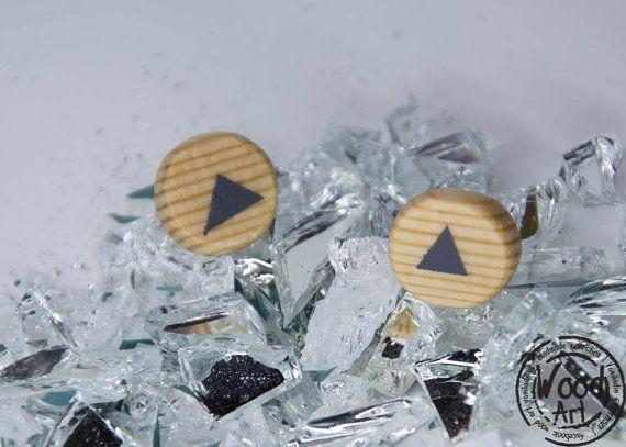 Geometric Studs Triangle Studs Post Earrings by TheWoodArtShop