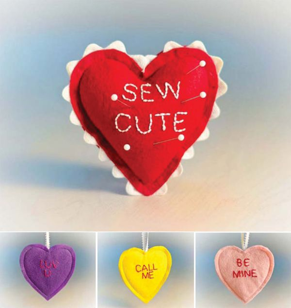 "Stitch these ""Conversation Heart"" valentines for all the sweethearts in your life! Quickly whip them up in multiples; then turn them into ornaments (with a little ribbon) or pincushions (with a little stuffing)."