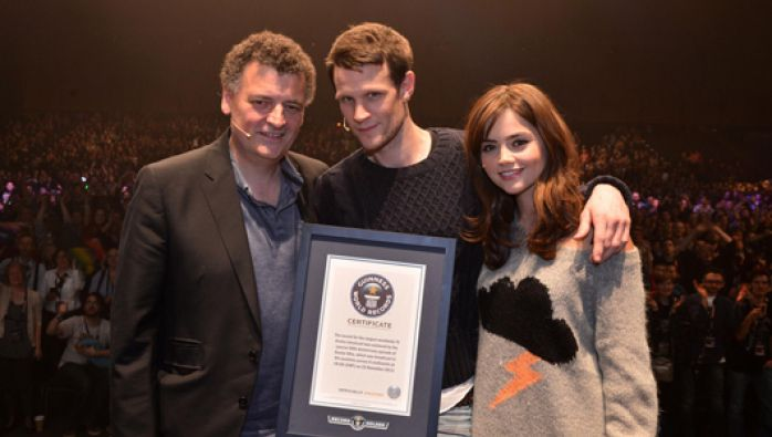 Steven Moffat, Matt Smith and Jenna Coleman accept the Guinness World Record for the largest ever simulcast of a TV drama for 'The Day of the Doctor'!