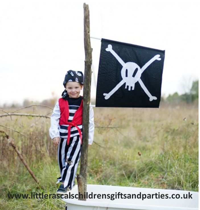 Shiver me' timbers....this gorgeous Pirate set is just what any budding little Pirate needs as they set sail for adventure and buried treasure!  Size M (4-6 years) - £25.00 http://www.littlerascalschildrensgiftsandparties.co.uk/#!pirate-fancy-dress-costumes/cej1
