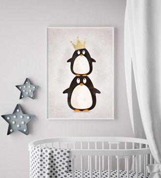 """Bilder – Kinder Poster Bild """"Pina & Paul Pinguin"""" – ein Designerstück von SchildkroetenMami bei DaWanda"""