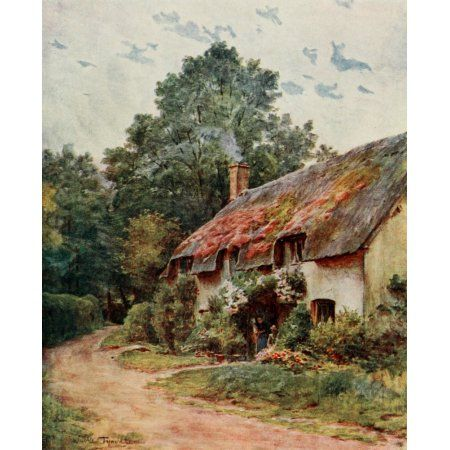 Posterazzi Wessex 1906 A typical Wessex cottage Canvas Art - Walter Tyndale (24 x 36)