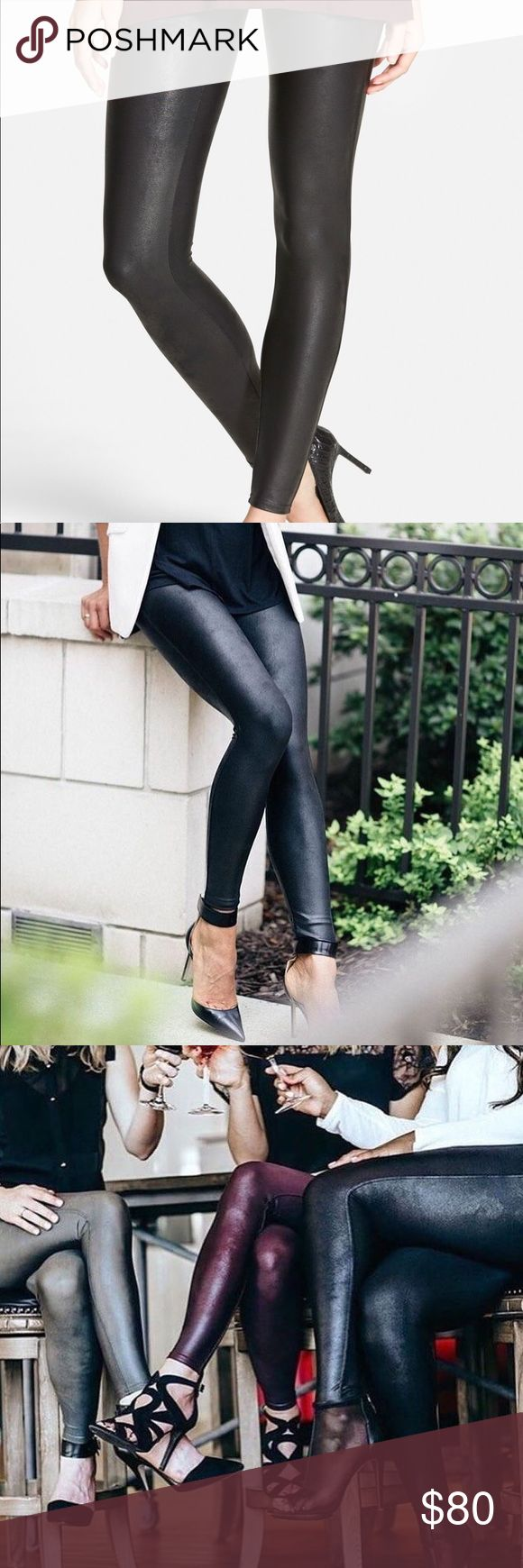 Spanx Faux Leather Leggings The Slim is Built In™— contoured Power Waistband offers tummy shaping and a perky rear view! Designed to hit at natural waist for great coverage and no muffin top Center-seam free SPANX Pants Leggings