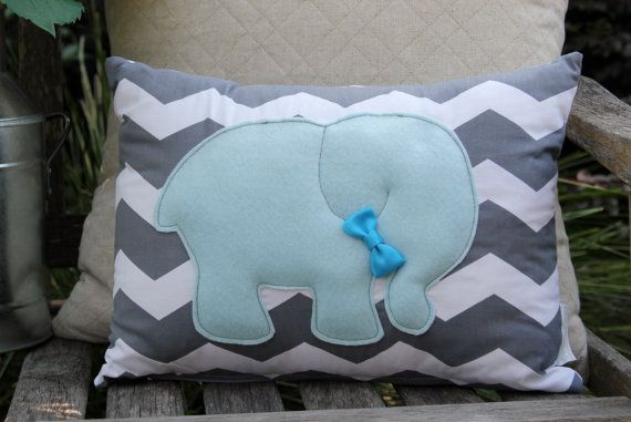 Blue Elephant Pillow Grey Chevron Nursery Boys by AMartinsNest