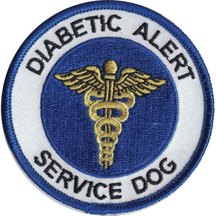 """Round patch, blue and white in color with gold caduceus, states: """"DIABETIC ALERT SERVICE DOG"""". Dimensions: 3 inches wide - Most people use two, one on each side (except on Tiny and X-Small) - Patches"""