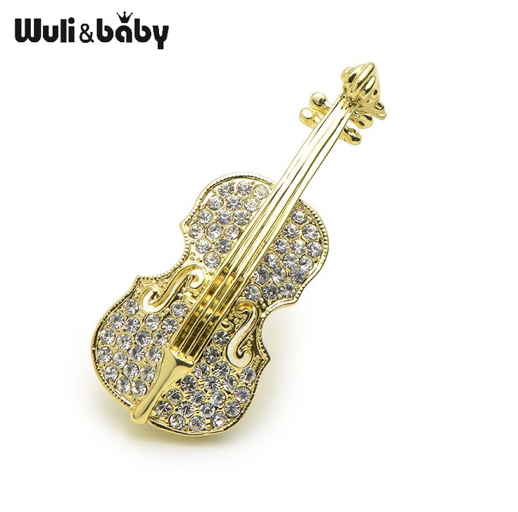 Violin Brooches For Women Rhinestone Violin Suit Pins High Quality Costumes Brooch