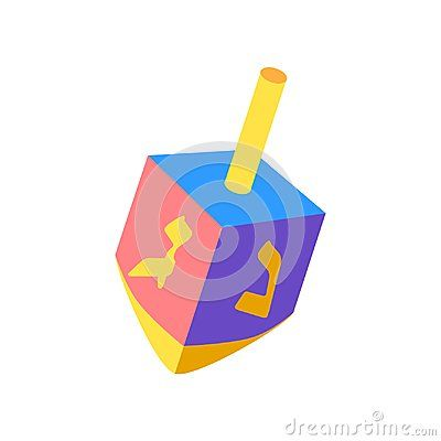 Hanukkah Festival of Lights Dreidel a small four-sided spinning top with a Hebrew letter on each side, used by the Jews. Dreidal icon - Spinning top  on white background, symbol of Hanukkah Jewish Holiday logo flat design