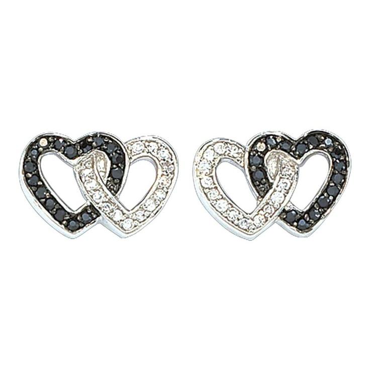 Yes please!Crystals Double, Heart Earrings, Link Earrings, Montana Silversmith, Jewelry, Silversmith Black, Black Crystals, Double Heart, Earrings Er61505Bk