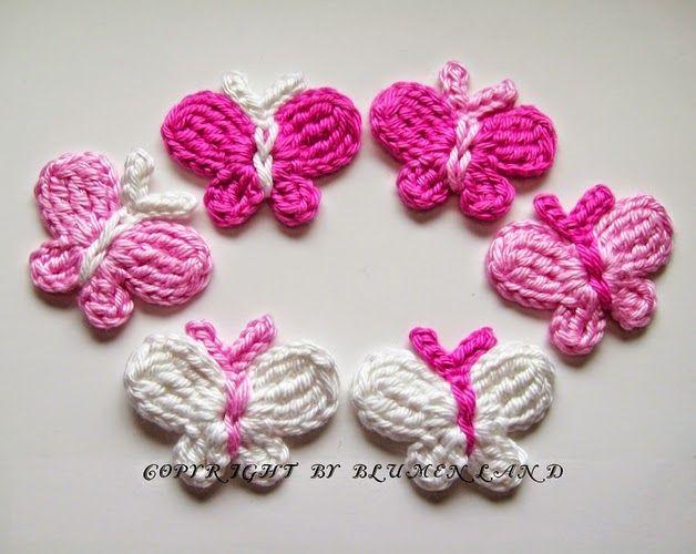 Crochet y dos agujas: Mariposas de primavera tejidas al crochet - con patrones