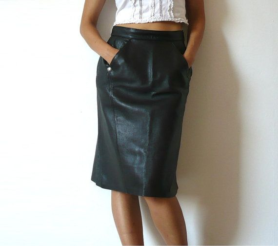 MADNESS French Vintage 80s Black Leather Pencil Skirt by bOmode, $68.00