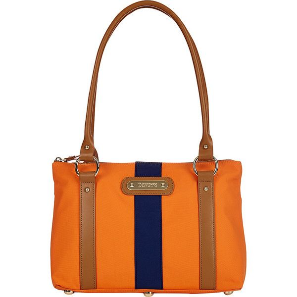 Davey's Small Stripe Tote - Orange/Navy Stripe - Totes (35 JOD) ❤ liked on Polyvore featuring bags, handbags, tote bags, orange, white leather purse, orange leather tote, white leather tote, white leather tote bag and leather handbag tote