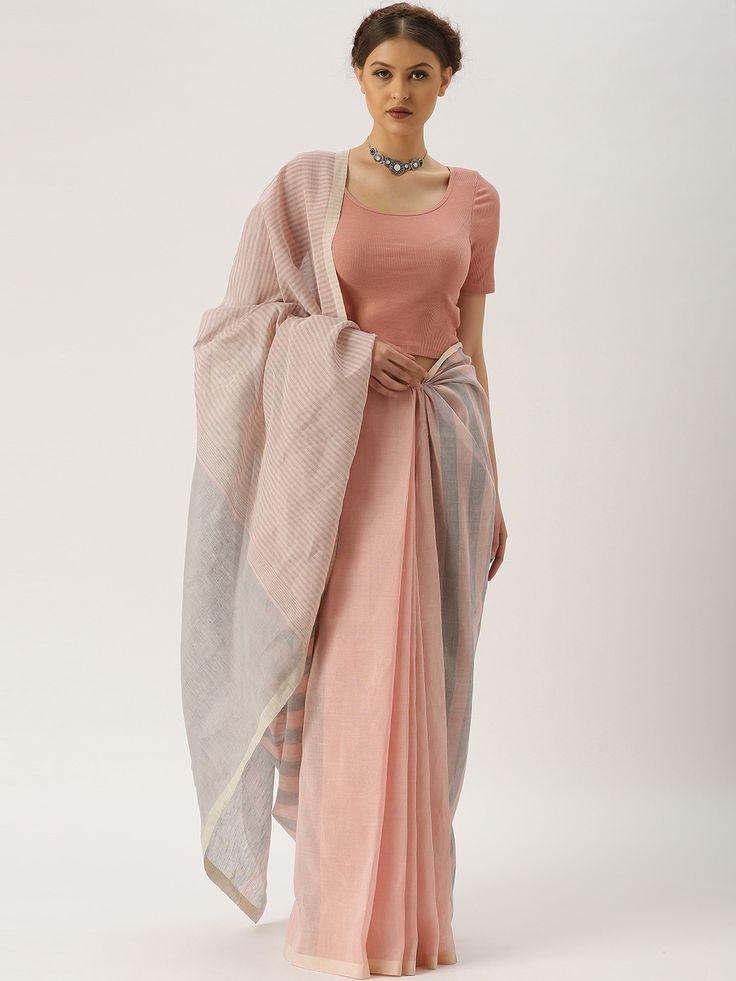 gocoop Grey & Pink Cotton Solid Traditional Handloom Saree