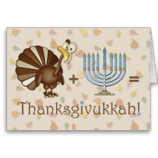 Turkey, Menorah, Humorous Thanksgivukkah Greeting Greeting Card