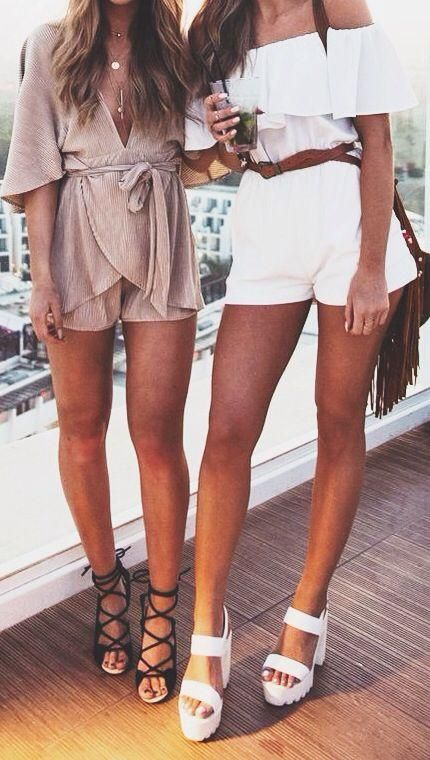Rompers with cute lace up heels and chunky heeled shoes. off the shoulder, deep v neck