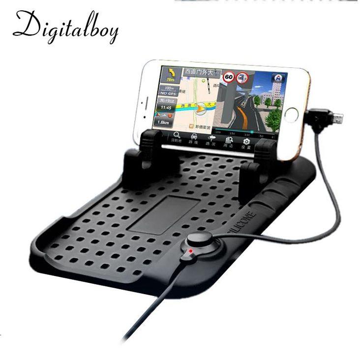 Digitalboy Car Phone Holder Mobile Pad Adjustable Bracket Stand for iPhone 6s Samsung xiaomi Car Mount Holder+USB Cable Charging