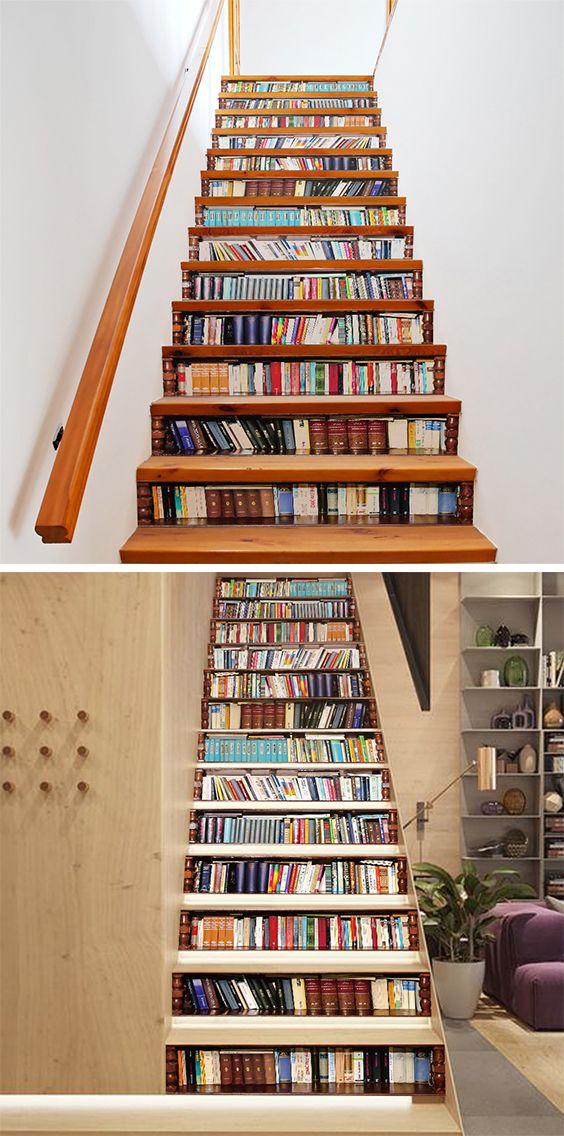 Forget the stickers - I want to build a staircase with space like this for real books!