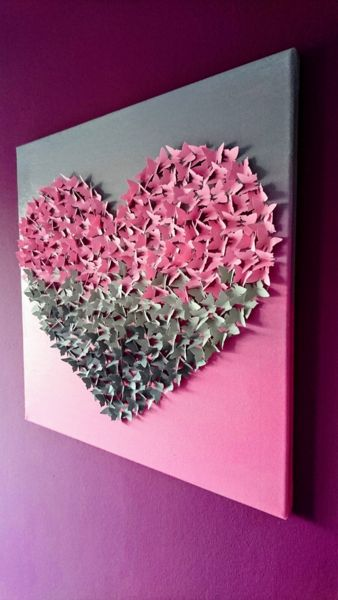 Fabulous Wanddeko D Schmetterlingsherz Bild auf Leinwand ein Designerst ck von Cherryviolett bei DaWanda