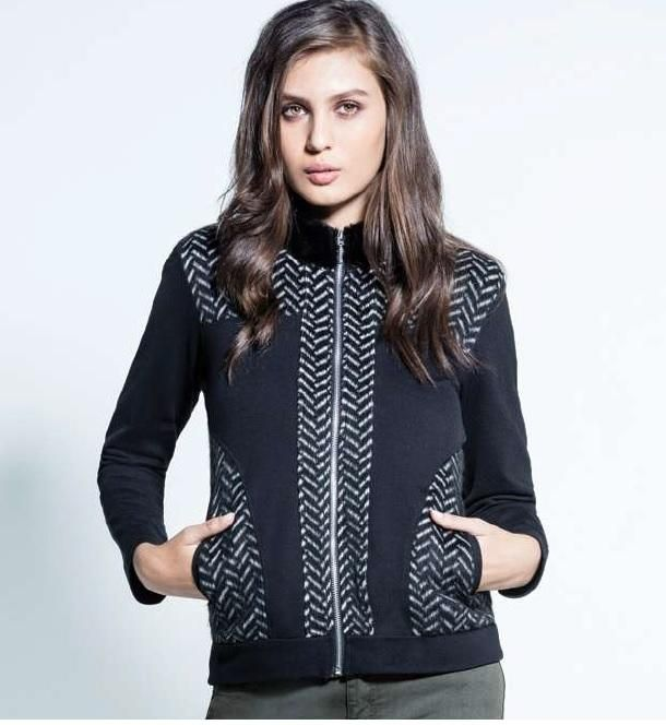 Kalisson Black and White Chevron pattern knitted Bomber with Faux Fur collar