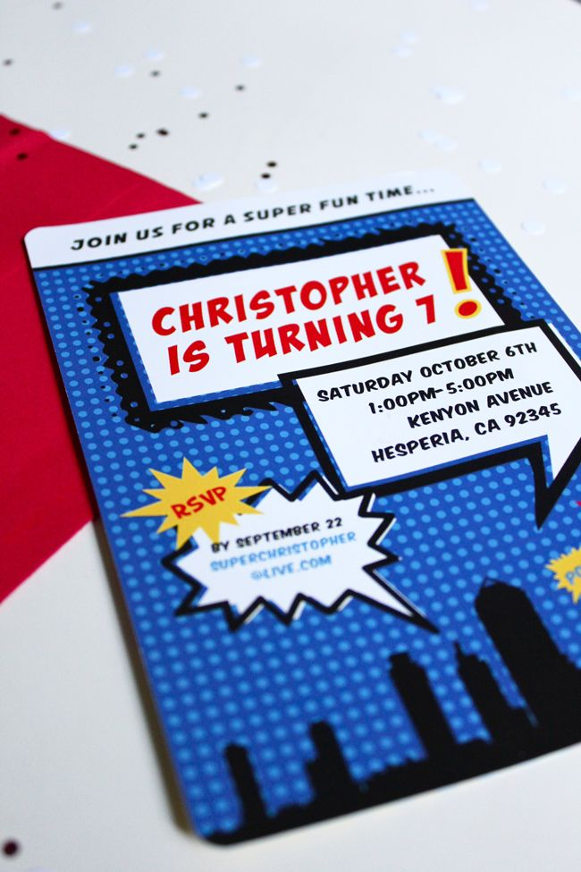 loveleigh invitations: work wednesday: superhero 7th birthday.