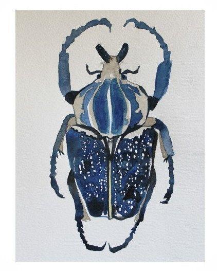 Naturalist Insect Art Indigo Beetle Original by CreatedByStorm, $150.00