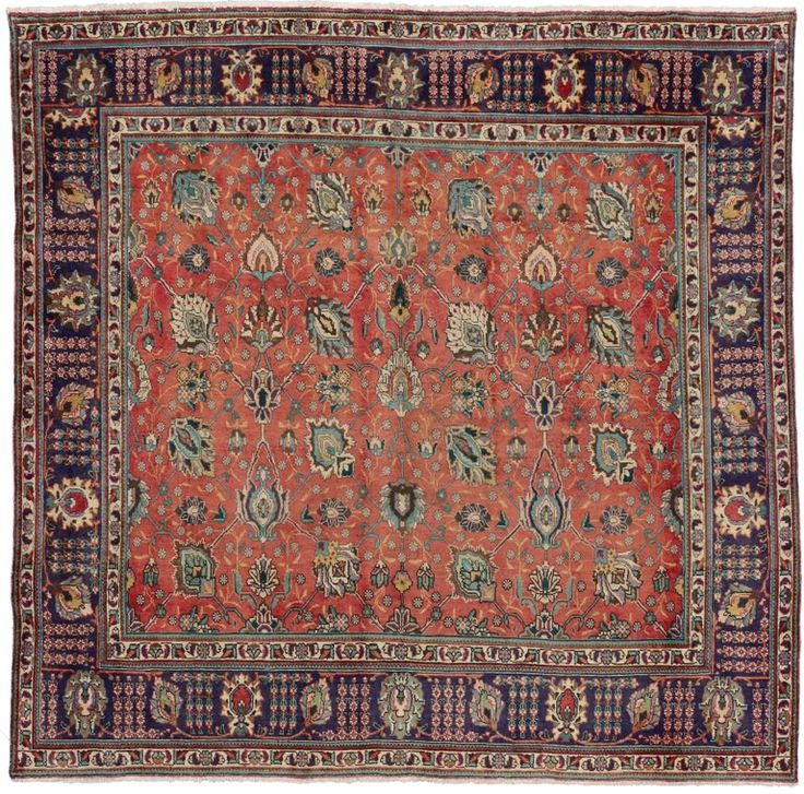 Vintage Persian Tabriz Rug with Traditional Style, Persian Square Rug | From a unique collection of antique and modern persian rugs at https://www.1stdibs.com/furniture/rugs-carpets/persian-rugs/