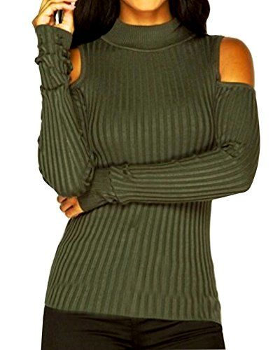 f575e7f4107 Lobinsun Women s Solid Turtleneck Cut Out Cold Shoulder Ribbed Knit Slim Pullover  Sweater Top