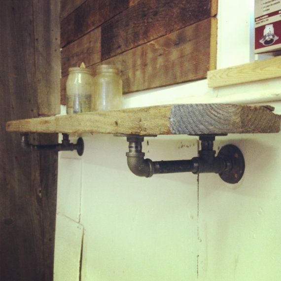 coolest industrial looking shelf brackets and reclaimed wood shelf Industrial Shelf Bracket