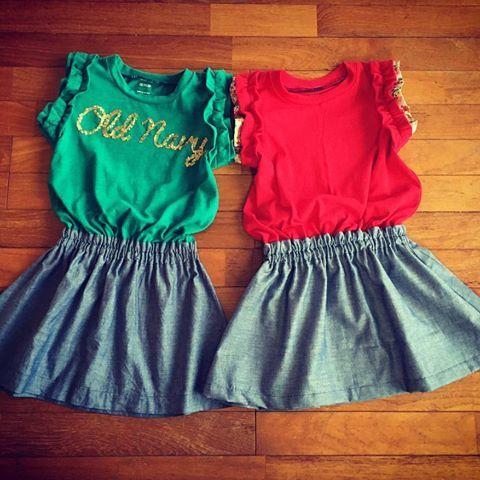 着なくなった大人のTシャツを娘たち用にリメイク!今回は気に入ってくれたようでホッと一安心♡  #オールドネイビー #ハンドメイド子供服 #sunピース #cozy #hollyhock #ストレス発散
