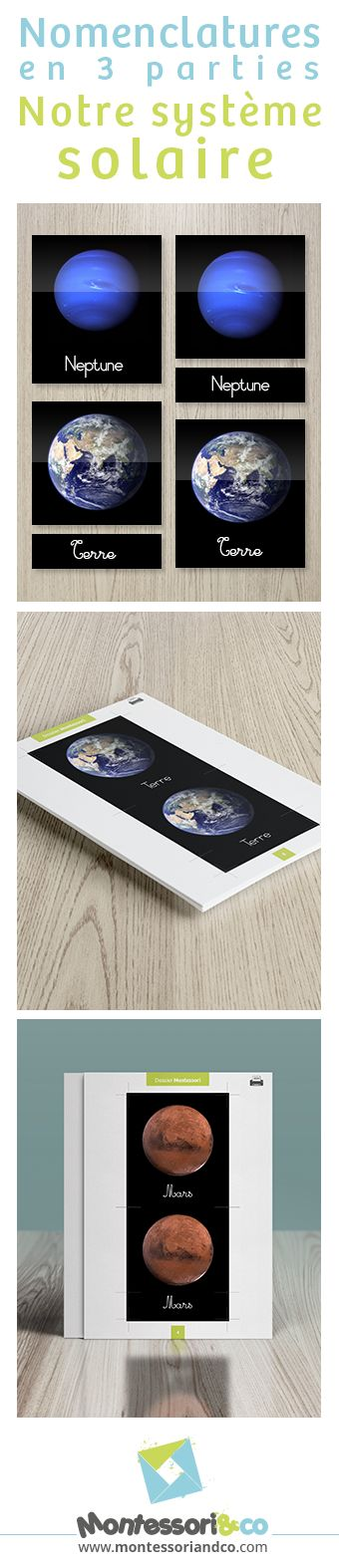 Nos magnifiques cartes de nomenclatures Montessori : notre système solaire. http://montessoriandco.com/documents-montessori/ecriture/le-2eme-alphabet-mobile-montessori/