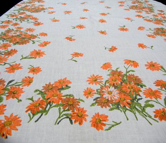 Vintage Tablecloth Orange Daisies Or Chrysanthemums   Floral Linen