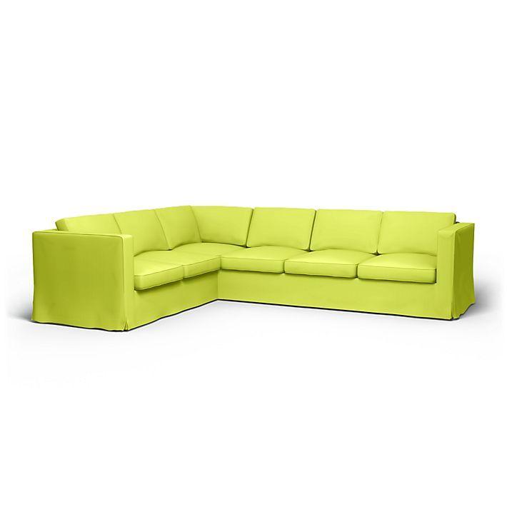 Karlanda, Sofabezüge, Ecksofa, 2+3 Ecksofa, Regular Fit bodenlang diesen Stoff anwenden Panama Cotton Daiquiri Green
