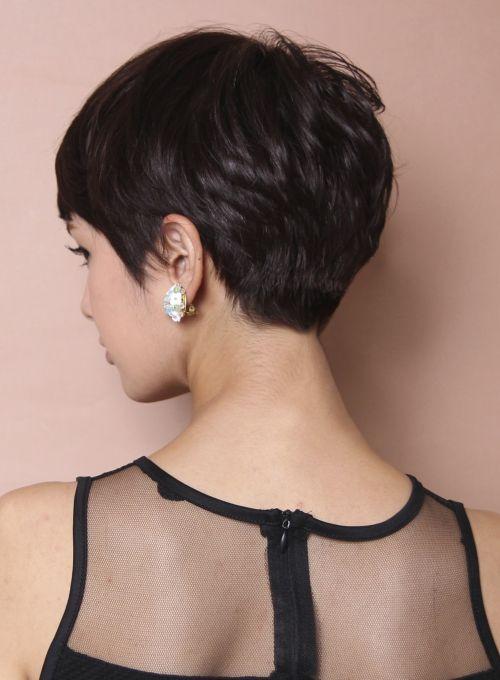 back of pretty brunette pixie